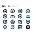 flat meter icons set vector image
