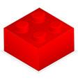 Lego Red plastic building block vector image