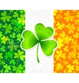 Irish flag with green and orange clovers vector image vector image