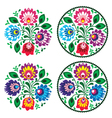 Ethnic round polish embroidery with flowers vector image