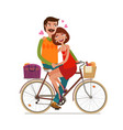 loving couple riding on picnic by bicycle cartoon vector image