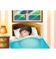 A boy sleeping soundly in his room vector image vector image