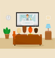 family with cat watching tv news in room vector image