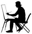 Silhouette artist at work on a white background vector image vector image