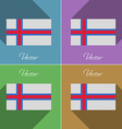 Flags Faroe Islands Set of colors flat design and vector image