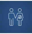 Husband with pregnant wife line icon vector image