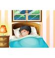 A boy sleeping soundly in his room vector image