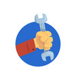 hand holding a spanner technical service repairs vector image
