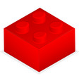 Lego Red plastic building block vector image
