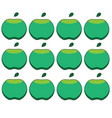 pattern of green apples on a white background vector image