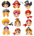 set cartoon pirate head vector image