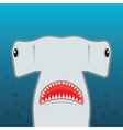 hammerhead shark with open mouth vector image