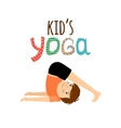 Yoga kids logo with boy vector image