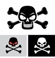 evil skull with bones vector image