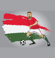 hungary soccer player with flag as a background vector image vector image