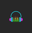 DJ headphones and equalizer sign mockup sound wave vector image