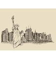 New York city with Statue of Liberty sketch vector image