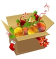 paper box full of christmas balls vector image