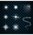 Shine stars with glitters and sparkles icons set 1 vector image