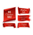 set of five red christmas sale realistic paper vector image