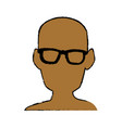 silhouette man head wear glasses vector image