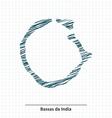 Doodle sketch of Bassas da India map vector image