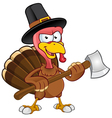 Turkey Mascot Holding An Axe vector image