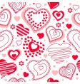 seamless pattern with red contour hearts vector image vector image