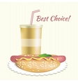 Paper cup with soda and hotdog vector image