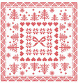 Merry Xmas Tile with snowflakes stars bow vector image