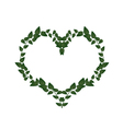 Green Vine Leaves in A Heart Shape vector image