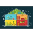 Flat house silhouette night vector image vector image