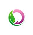 beauty green leaf eco logo vector image
