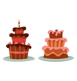 Chocolate cake with cherry and candle on top vector image
