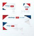 Origami label design red blue color vector image