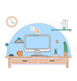 workspace for freelancer with computer laptop vector image