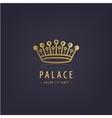 golden crown linear logo vector image