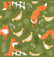 sly foxes and chickens seamless pattern vector image vector image