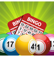 bingo balls and card background on a green vector image
