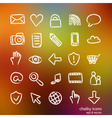 social media icon set doodles vector image