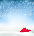 Blue Holiday Christmas background with santa hat vector image