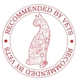 Stamp recommended by vets with cat vector image