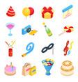 Birthday party isometric icons vector image