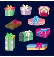 Gift Boxes and Presents Set with Ribbons vector image