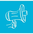 hand holding megaphone on blue background vector image