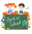 blackboard with pupils and school supplies vector image