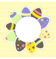Easter eggs pattern on a yellow vector image