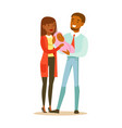 happy young mother and father holding newborn vector image