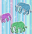 Seamless elephant pattern on stripped wallpaper vector image