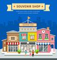 Souvenir shop on blue background vector image